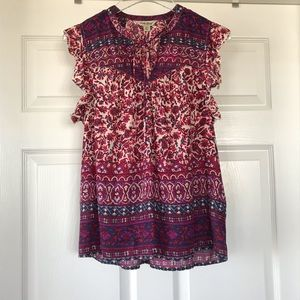 Lucky Brand | Sleeveless Floral Ruffle Tie Blouse